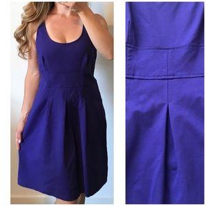 LOFT Blue Purple Scoop Neck Pleated Career Dress 6
